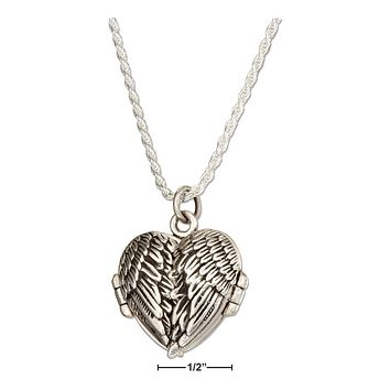 "Sterling Silver Necklace:  18"" Antiqued Angel Wings Heart Locket Necklace"