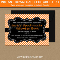 Adult Halloween Invitation Template, Adult Halloween Party Invitations, 5x7 Halloween Sign, Orange Chevron Invitation, Printable Invitations