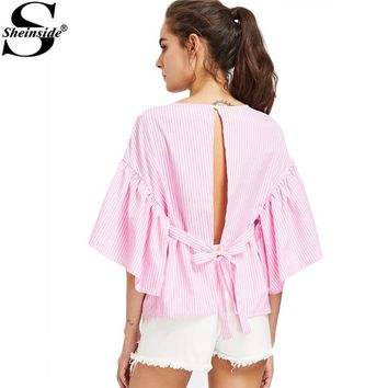 Sheinside Open Back Blouse Shirt Women Pink Self Tie Kimono Sleeve Sexy Striped Summer Tops 2017 Fashion Cut Out Tunic Blouse