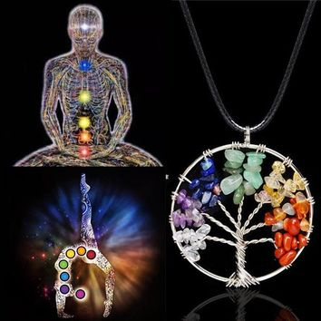 Tocona Life of Tree Necklaces Chakra Stone Beads Natural Stone Pendant Necklace Leather Chains Christmas Gifts 3244