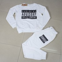Black Parental Advisory Unisex Long Sleeve Sweatshirt Pants Set