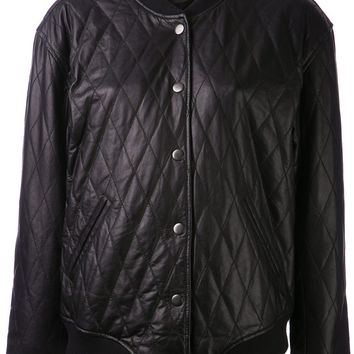 Blk Dnm Quilted Bomber Jacket