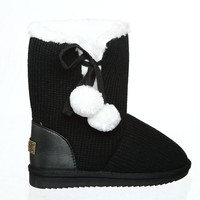 Cute Yarn Sewn Comfortable Boots with Two Fluffy Ball