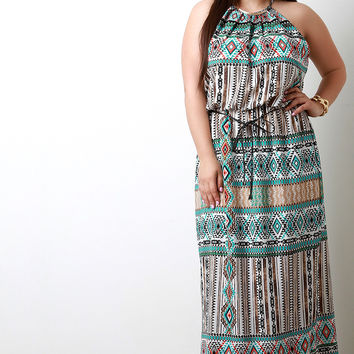Woven Boho Print Halter Belted Maxi Dress