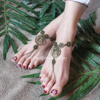 Bohemian Barefoot Sandals Boho Foot Body Jewelry Hippie Barefoot Sandals Anklet Toe  Chain Jewelry Womens Wedding Shoes SIZED Beach Shoes