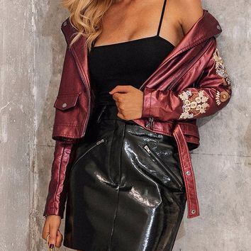 Glorie Embroidered Leather Jacket