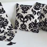 embossed velvet cotton ivory black handmade lace pillow and runner set decorative modern patterned home decor bedroom decor pillows