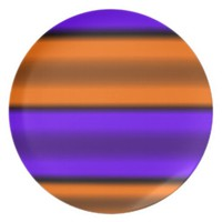 Orange & Purple Horizontal Stripes Melamine Plate