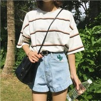 women's T-shirts Japan harajuku Ladies Ulzzang Student Summer Tide Loose Stripe Top Female korean kawaii clothes for women