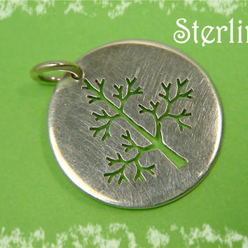 Tree Silhouette Sterling Silver Pendant - A Tree In The Forest - FREE SHIPPING