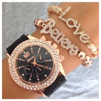Believe In Love Rose Gold Watch Bracelet Set- Tanya Kara Jewelry