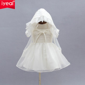 Newborn Christening Gown Party Wedding Dress with Bonnet and Cape Elegant  Baptism Dresses for 1 year girl baby birthday3PCS/Set