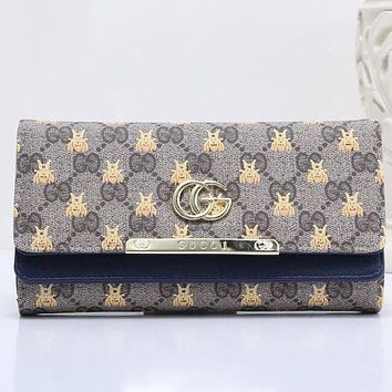 Gucci Bee Fashion Women Shopping Metal GG Letter Leather Buckle Wallet Purse Blue I