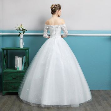 Boat Neck Crystal Off the Shoulder Ball Gown Backless Lace Wedding Dress  Lace Up