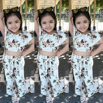 Fashion Kid Baby Girl Off Shoulder Floral Tops Pants 2Pcs Outfit Clothes Sunsuit
