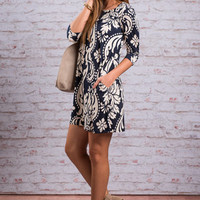 Care To Be Cute Dress, Navy