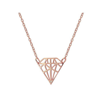 925 Rose Gold Sterling Silver Necklace |Diamond Shaped Pendant with Sparkling CZ Stone