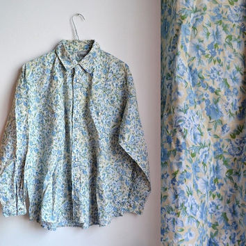 plus size vintage floral shirt  button up blouse oversized baggy long sleeve yellow blue xlarge xl xxl