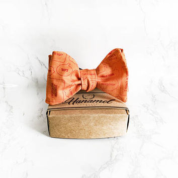 Hanamel Handcrafted Emoticon Orange Self Tie Bow Tie - Dapper Style Self Tie Bow Tie - Wedding Orange Bow Tie - Geeky Bow Ties