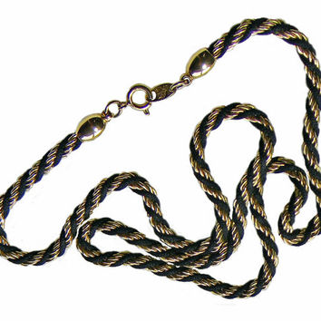 Trifari Necklace Gold Black Rope Twist Chain