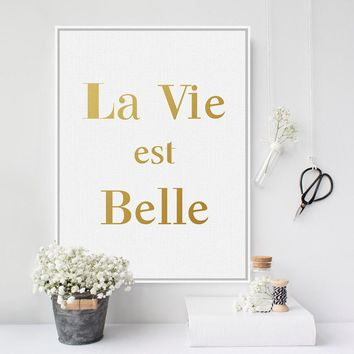 Modern Minimalist French Gold Beautiful Life Quotes A4 Large Canvas Art Print Poster Wall Pictures Home Decor Painting No Frame