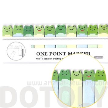 Tiny Green Frog Shaped Animal Themed Sticky Post-it Memo Bookmark Tabs   DOTOLY