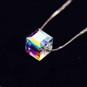 925 Sterling Silver Crystal Cube Necklace Four Leaf Clover flower Necklaces & Pendants for women collares 2015 colar Jewelry