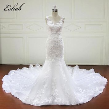 Gorgeous Flower Lace Bridal Dresses Appliques Bodice Mermaid Wedding Dress Long Tail Sexy Style Tank  Cutom-made Bridal Gown