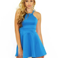 West Coast Wardrobe  Scuba Double Strap Flare Dress in Aqua
