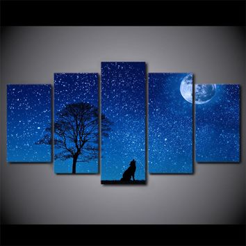 Howling Wolf Tree Blue Moon Stars Sky Panel Wall Art on Canvas Print Picture