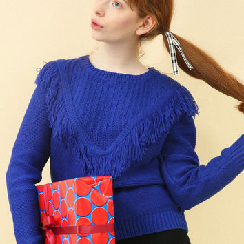 Limited Edition: Chunky Knit Fringe Jumper Blue