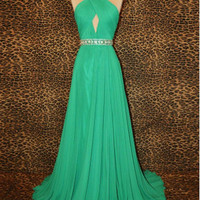 Custom-made A-line Beads Chiffon Floor-Length Sexy Long Prom Dresses
