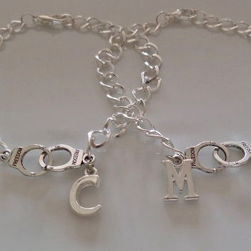 Partners in crime bracelets, set of 2 Partner in crime, handcuffs bracelets, initial bracelets, friendship Gift