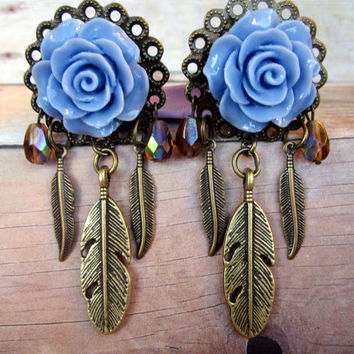 "Pair of Open Rose Plugs with Feather Charms and Beads - Handmade Girly Gauges - 9/16"", 5/8"", 3/4"""