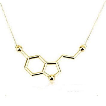Everfast 1pc Hope Happiness Serotonin Molecule Pendant Necklace Gold Silver Plated Long Link Chain Anime Women Love Necklaces
