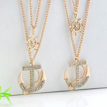 New Arrival Jewelry Gift Shiny Diamonds Sweater Chain Korean Stylish Style Navy Double-layered Accessory Necklace [11668395279]