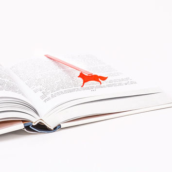 Bookmark Fox laser cut metal powder coated RED Stylish unique gift for book lover Free shipping.