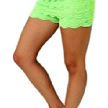 Crochet lace layered shorts with banded waist, Neon Green