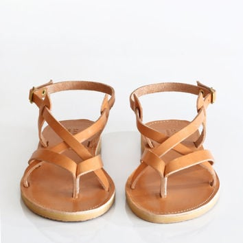 SKORPIOS , Sandals, Leather sandals, Crisscrossed strap women sandals, Handmade Greek sandals