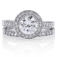 Sterling Silver Round Cubic Zirconia CZ Ring Set #r041