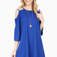 Exposed Shoulder Swing Tunic Dress