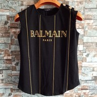 """Balmain"" Women Fashion Classic Bronzing Stripe Letter Vest Buttons Decoration Sleeveless Cotton T-shirt Tops"