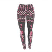 "Amanda Lane ""Painted Feathers Gray"" Pink Dark Yoga Leggings"