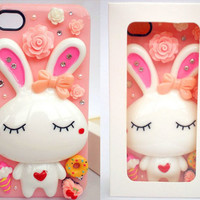 Unique Design Cute Rabbit Pink Mobile Phone Case for iphone4 4s