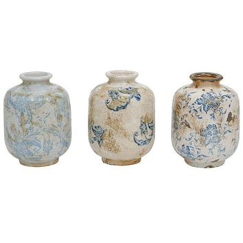 Terra-Cotta Vase With Transfer-ware Pattern Blue White - 4-in x 5-3/4-in Set of 3