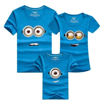 1 Piece Despicable Me Mother And Daughter Family Look Printed T Shirts 9 Color Summer Family Clothes Father Mum Girl Son Outfits