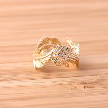 Feather Ring adjustable gold by bythecoco on Etsy