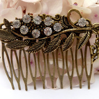 Sparkling rhinestone hair comb with leaves and butterfly in bronze, bridal hair comb, hair accessories summer, updo hair comb