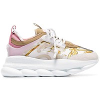 Pink Reaction Leather Fabric Sneakers by Versace