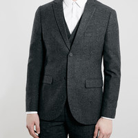 DARK GREY TEXTURED HERITAGE FIT 3 PIECE SUIT - Topman